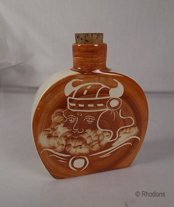 Rushton Isle of Man Art Pottery Spirits Flask or Bottle, Circa 1960s / 1970s