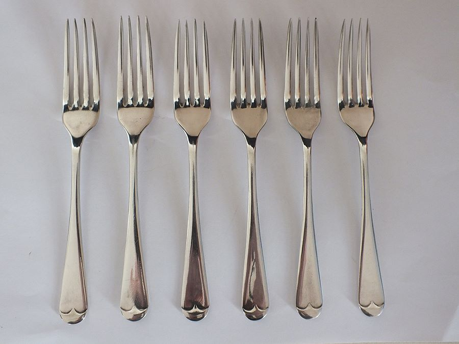 Dessert Forks, Set of 6, Old English Pattern, Silver Plate / EPNS
