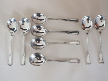 "Elkington Plate Soup Spoons, 7.25"", Art Deco Design, 8 Place Setting"