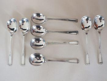 """Elkington Plate Soup Spoons, 7.25"""", Art Deco Design, 8 Place Setting"""