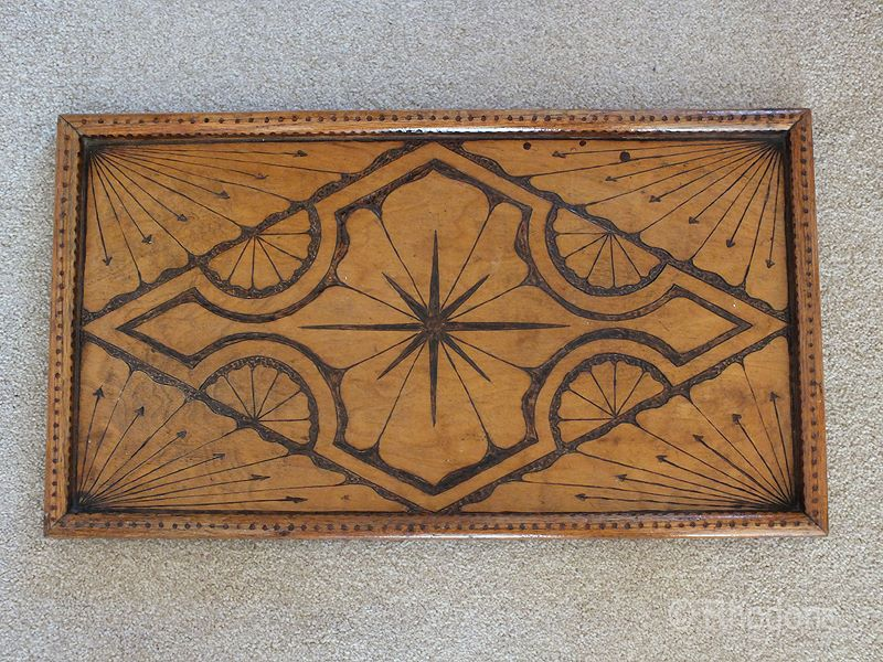 Antique Pokerwork Serving Tray - OOAK