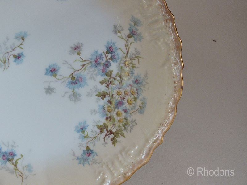 Antique Limoges Blush Cornflower Porcelain Plate By G D & Cie Limoges  (Ref: 001)