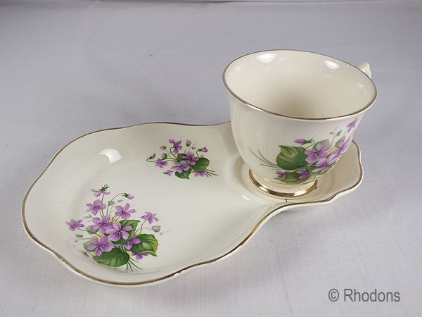 James Kent Old Foley Chinarita Tea Cup & Saucer Tennis Set, Violets Pattern