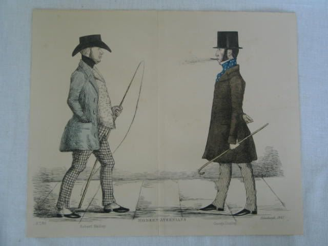 Modern Athenians, Prominent Edinburgh Gentlemen. Caricatures of Robert Hadley and George Dunlop