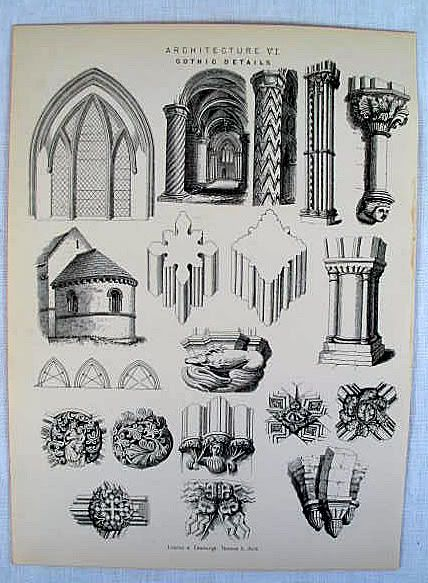 Architectural Print, Gothic Details, 19th Century