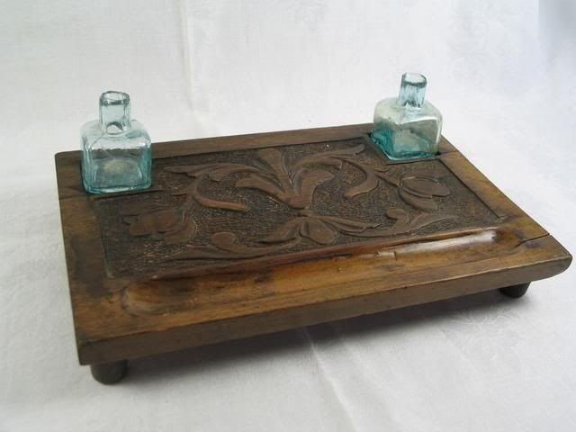 Arts & Crafts Treen Inkwell, Penstand, 2 Glass Ink Bottles. Late 19th / early 20th Century