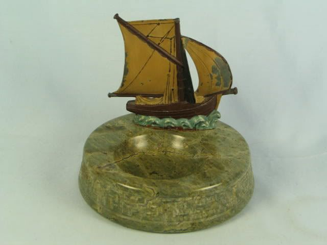 Cornish Granite Ashtray With Metal Fishing Boat, Circa 1930s
