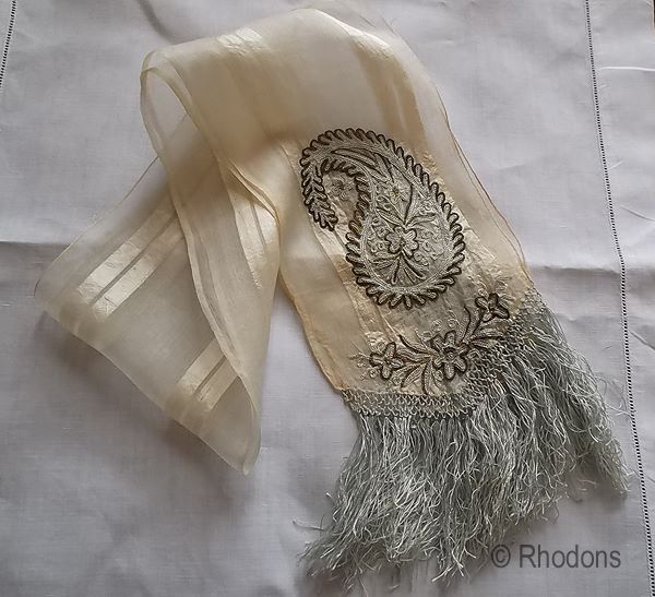 Victorian Gossamer Silk Fringed Sash Neck Scarf Embroidered Chain Stitch Paisley