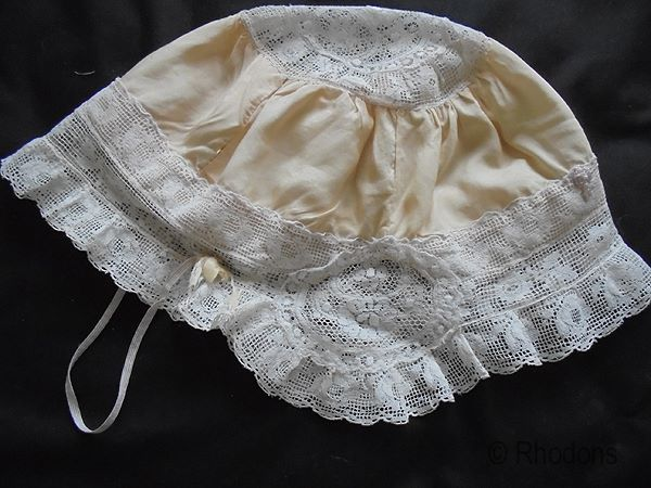 Ladies Boudoir Cap, Silk & Lace, Circa 1920s