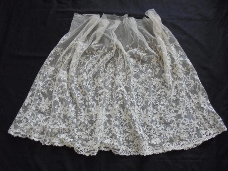 Antique Lace Skirt Flounce With Applique Motifs