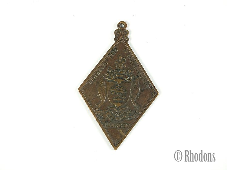 Queen Victoria Diamond Jubilee Commemorative Medal 1897 Glasgow Childrens Fete Souvenir Pendant Fob