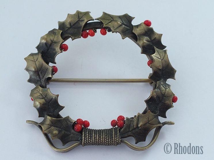 Vintage Christmas Holly Wreath Brooch