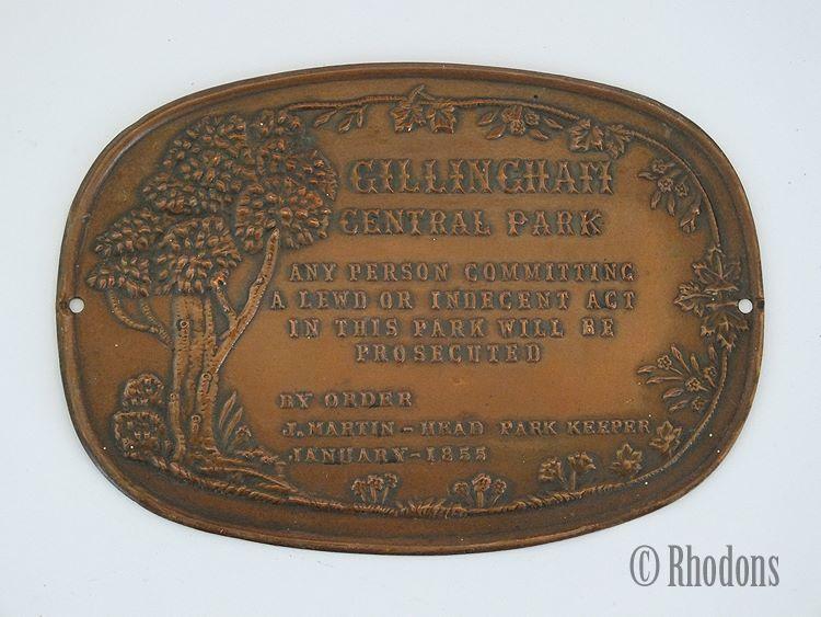 Gillingham Central Park Notice, 1855