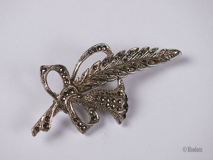 Marcasite Flower Spray Brooch