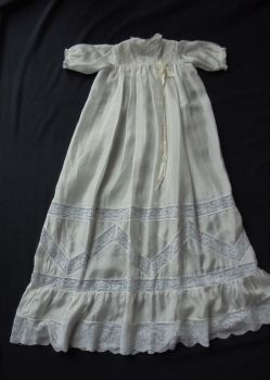 Christening Gown, Lemon Silk, Deep Lilly Pattern Lace, Circa 1920s /30s
