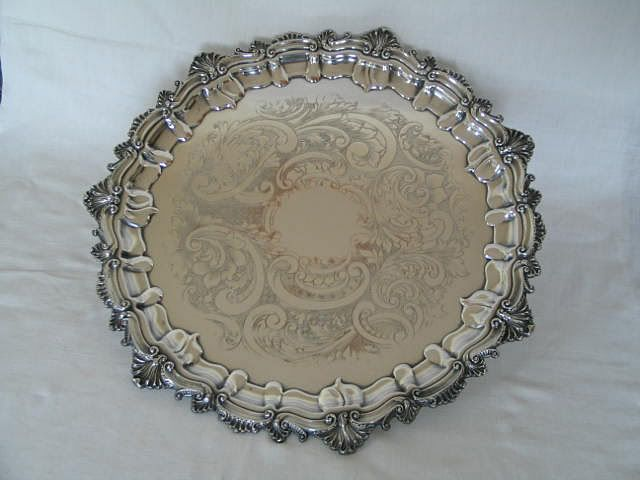 "John Turton Sheffield Silver Plate On Copper Serving Tray / Salver, 15"" Diameter, Early 1900s"