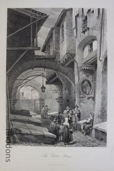 The Ghetto Rome, 1870s Steel Engraving By L Haghe S V Hunt
