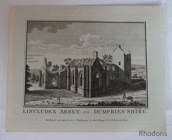 Lincluden Abbey In Dumfries-Shire, 1780s Copper Engraving