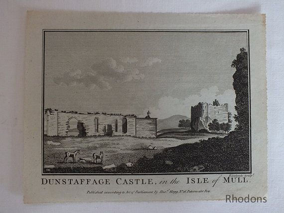 Dunstaffage Castle, Isle of Mull, Scotland, 1786 Copper Engraving Print
