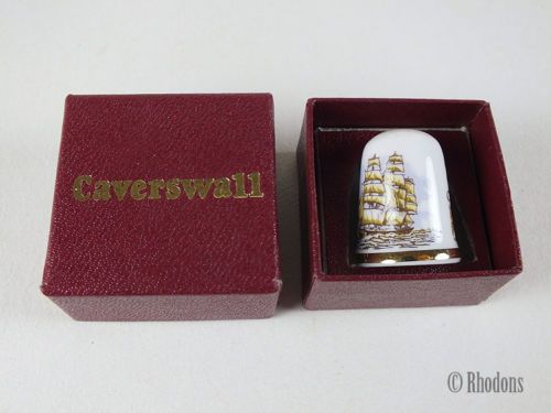 Caverswall Collectable China Thimble, Famous Ships, Cutty Sark, Boxed