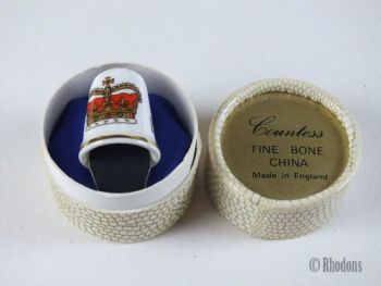 Queen Elizabeth II Silver Jubilee Commemorative Thimble, Countess Bone China