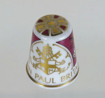 Spode Collectors China Thimble, Pope John Paul II Visit To Britain 1982 - Boxed