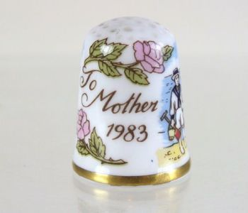 Caverswall China Thimble,To Mother 1983, Boxed
