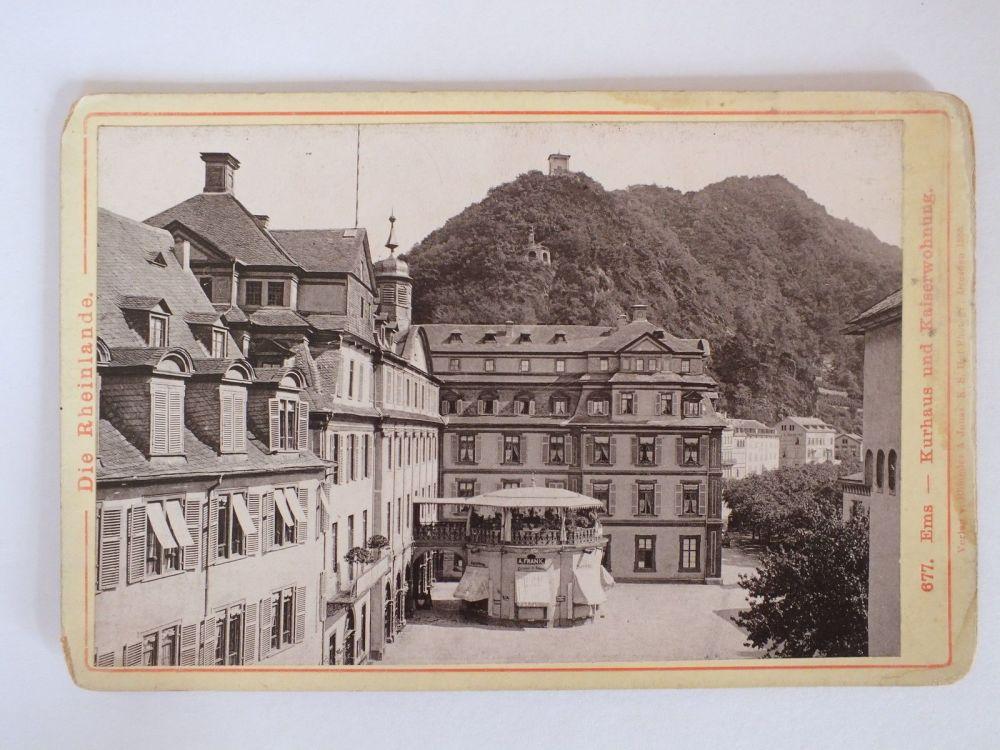 Die Rheinlande, Ems Kurhaus Und Kaiserwohne, 19th Century German Cabinet Photo