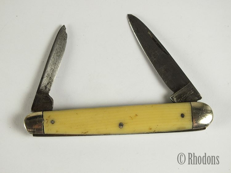 Walker & Co Sheffield Twin Blade Folding Pocket Knife With Ivorine Scales, Early 1900s