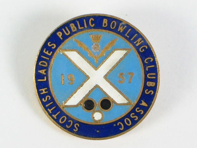 Scottish Ladies Public Bowling Clubs Association 1957 Enamel Badge