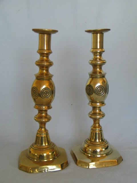 Victorian Brass 'Good Luck' Candlesticks By James Clew & Sons, 11.50""