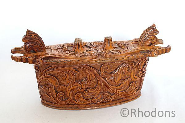 Antique Scandinavian Carved Wood Tina Box