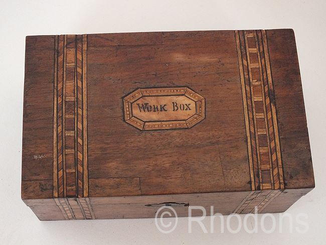 Antique Tunbridgeware Work Box, Needlework Box, Victorian Era