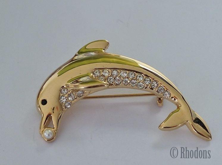 Dolphin Brooch, Rhinestones & Faux Seed Pearl
