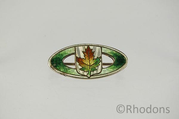 Canadian Maple Leaf Lapel Brooch, Sterling Silver & Enamels