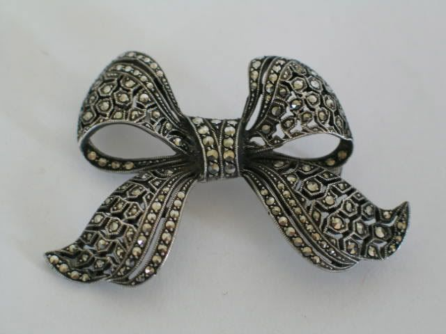 Marcasite Bow Brooch, Circa 1930s / 1940s