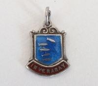 Silver & Enamel Travel Shield Bracelet Charm, Inveraray, Scotland