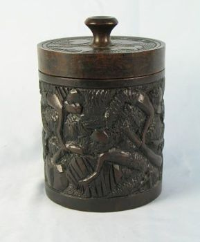African Carved Wood Tobacco Jar. Early, Mid 1900s
