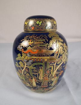 Carlton Ware Ginger Jar, Handpainted Enamels, Chinoiserie Scenes. Early 1900s