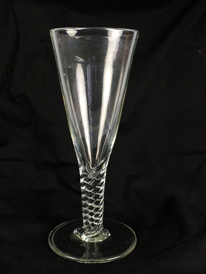 Early 1900s Pint Ale Glass With Wrythen Stem