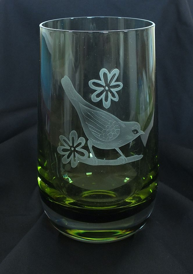 Caithness Green Glass Vase With Etched Blackbird, Signed, 1980s