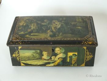 Toleware Biscuits Tin, With Lock, Musical Theme, Unbranded, Early 1900s