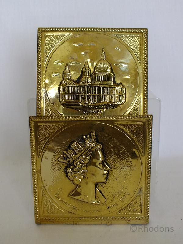 Brass Letter Rack, 1953 Queen Elizabeth II Coronation
