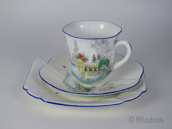 Shelley Trio, Lake & Balcony With Butterflies Design #2117, Dainty Pattern Cup