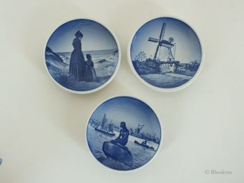 Miniature Danish Souvenir Wall Plates, Aluminia Faience, Royal Copenhagen Dated 1956, Set of 3