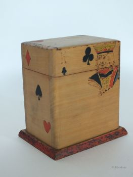 Rustic Playing Cards Box With Primitive Hand Applied Decoration, Circa 1950s