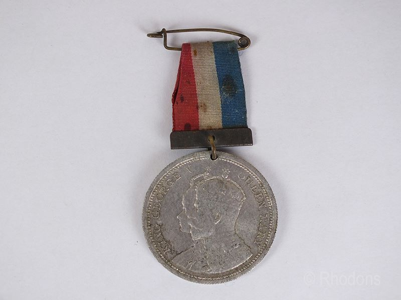 King George V & Queen Mary Coronation Aluminium Medal With Ribbon