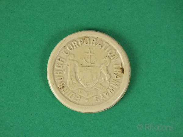 Edinburgh Corporation Tramways 1d Fare Token. Pre 1956
