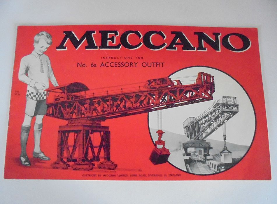 Vintage Meccano Manual Booklet For No 6a Accessory Outfit