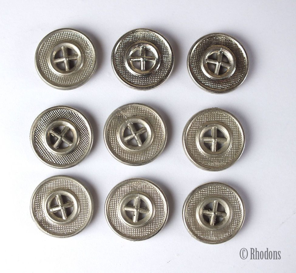 Vintage Coat Buttons x9, Silver Coloured Plastic